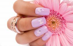 Pink Flower Finger Nails