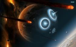 Planets hit by asteroids wallpaper 1920x1200