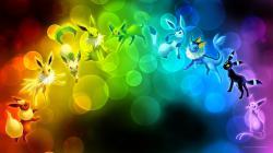 [Wallpaper] Eeveelution Rainbow by arkeis-pokemon