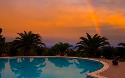 Pool rainbow sunset