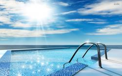 Scenic Swimming Pool Wide Desktop Background wallpaper