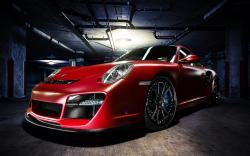 Porsche 911 Turbo Red Car Garage Photo