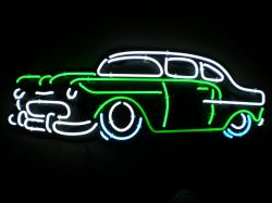 Neon Sign Of A 55 Chevy