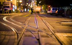 City Street Rails Night