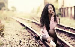 Railway Beauty Asian Girl HD Wallpaper