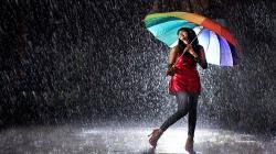 Girl in Rainy Night Wallpaper