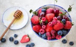 Raspberries Strawberries Blueberries Blueberry Cherry Berries Honey