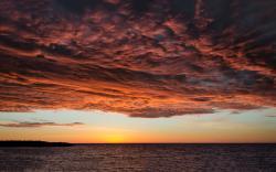 Red sunset over lake michigan