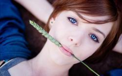 Redhead Blue Eyes Girl Wheat