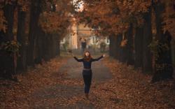 Redhead Autumn Leaves Mood