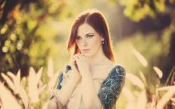 Redhead Girl Tattoos Freckles Photo