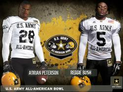 NFL running backs Adrian Peterson and Reggie Bush both played in the U.S. Army All-American Bowl
