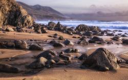 Beach shore rocks