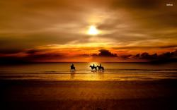 Horseback Riding in The Sunset Wallpaper Beach Wallpapers 1920x1200px