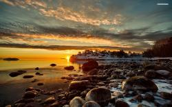 ... Snowy Rocky Shore wallpaper 1920x1080 1080p ...