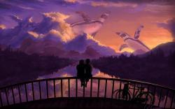 Romantic couple bridge sunset art