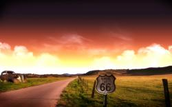 "Alternate color variation of the ""Route 66"" wallpaper."