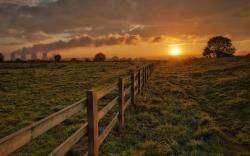 Rural landscape sunset