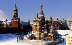 Beautiful winter morning in moscow