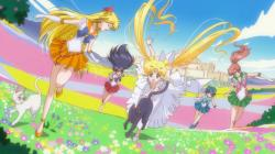 Sailor Moon Crystal Act 9 - Princess Serenity and her Guardians with Luna and Artemis