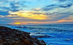 Sea coast sunset
