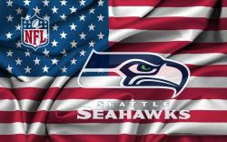 Seattle Seahawks On USA Windy Flag 1920x1200 WIDE
