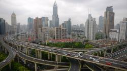 City 5183. Aerial View of JW Marriott Hotel Shanghai, Nan Zheng Building, Yan an East Road Overpass Shanghai - China 00:00:30