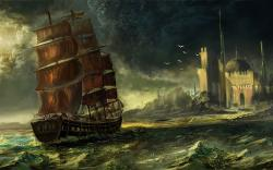 sea waqas mallick ship sailing art wallpaper background