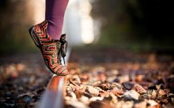 Shoes Legs Autumn Leaves Railroad Macro Photo