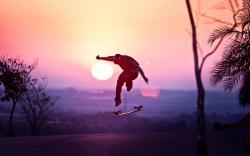 Skateboarding longboard sunset