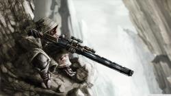 rocks sniper digital artwork