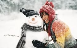 Snowman Brunette Girl Smile Winter Snowflakes