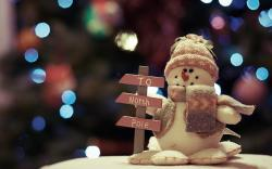 Christmas Lights Snowman Toy New Year Photo HD Wallpaper