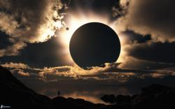 solar eclipse, planet, clouds