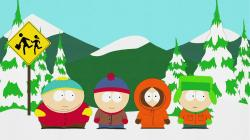 South Park desktop wallpaper with Cartman, Kenny, Kyle and Stan in the snow.