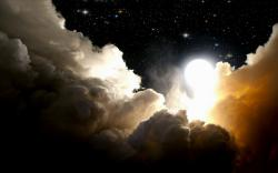 Space night clouds moon
