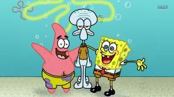 SpongeBob, Patrick and Squidward wallpaper 1366x768