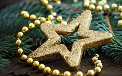 Star Gold Beads Decorations Christmas New Year