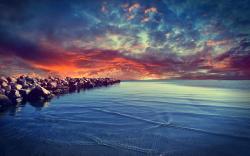 Stunning Sunset Near Dock Wallpaper