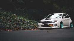 Subaru Impreza Road Forest Fall Leaves HD Wallpaper