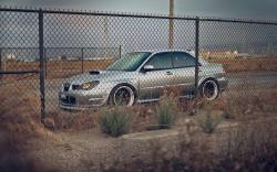 Subaru Impreza STI Car Road Fence Photo