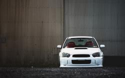 Subaru Impreza WRX STI Tuning White Car