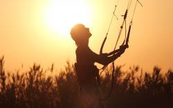 Man, boy, shadow, silhouette, parasailing, sun