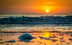Sunset beach waves