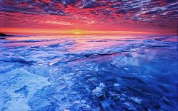 Sunset frozen lake