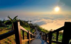 Sunset mountain stairs Wallpapers Pictures Photos Images. «