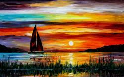 Exquisite painting wallpaper, sunset sea boat