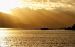 Yellow Soft Sunset Over Water wallpaper