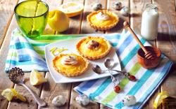 Tarts Dessert Lemon Citrus Fruit Cream Milk Honey Spoon Plate Food
