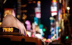 Taxi Car City Night Lights